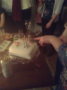 My dainty cake cutting pose